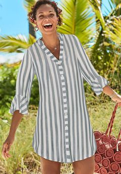 Sandra Button Up Cover Up Shirt, NAVY/WHITE STRIPE