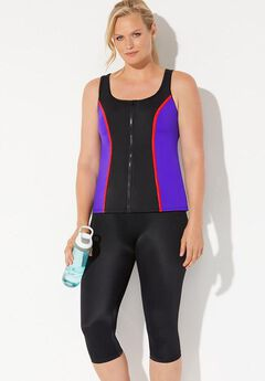 Chlorine Resistant Colorblock Zip Front Tankini Set with Capri,