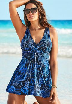 Twist Front V-Neck Swimdress, BLUE PALM