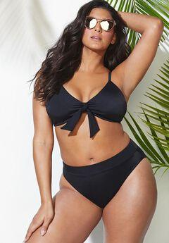 Mentor Tie Front High Waist Bikini Set,