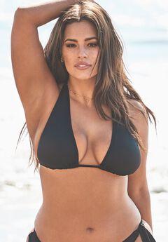 Ashley Graham Elite Triangle Bikini Top, BLACK