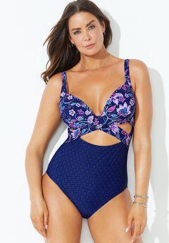 Cut Out Underwire One Piece Swimsuit, BLUE PURPLE FLORAL