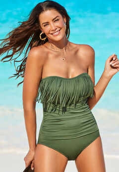 Fringe Bandeau One Piece Swimsuit, GREEN