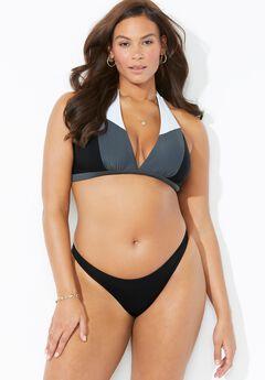Romancer Colorblock Halter Triangle Bikini Set with Cheeky Brief,