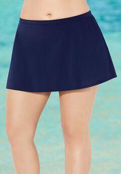 Chlorine Resistant A-line Swim Skirt, NAVY