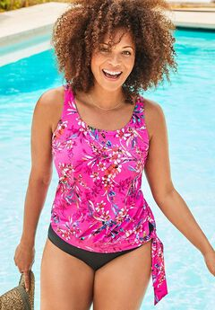 Side Tie Blouson Tankini Top, PINK FLORAL