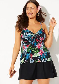 Tie Front Underwire Tankini Set with Side Slit Skirt,