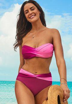 Valentine Ruched Bandeau Bikini Set with Twist Front Brief,