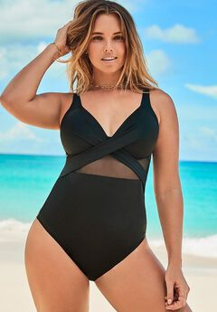 Cut Out Mesh Underwire One Piece Swimsuit, BLACK
