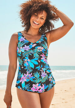 Sarong Front One Piece Swimsuit, PINK FLORAL