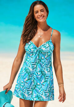 Tie Front Underwire Swimdress, TROPICAL PALM