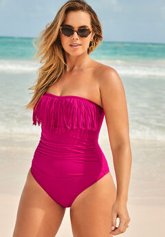 Fringe Bandeau One Piece Swimsuit, BRIGHT BERRY