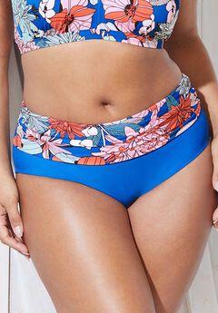 Foldover Swim Brief, BLUE GROUND FLORAL