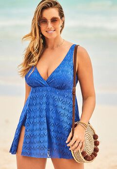 Crochet Side Slit V-Neck Swimdress, COBALT BLUE