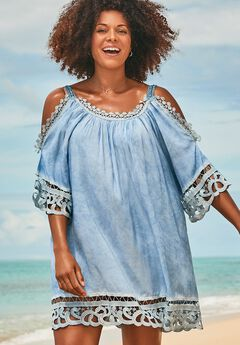 Vera Crochet Cold Shoulder Cover Up Dress, INDIGO