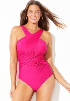 High Neck Wrap One Piece Swimsuit,
