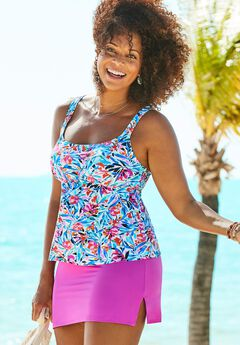 Flared Tankini Set with Side Slit Skirt,