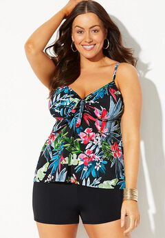 Tie Front Underwire Tankini Set with Boy Short,