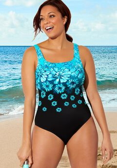 Chlorine Resistant Tank One Piece Swimsuit,