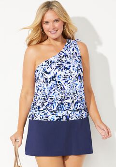One Shoulder Blouson Tankini Set with Skirt,
