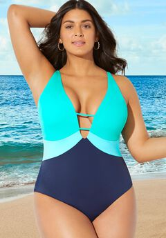 Colorblock V-Neck One Piece Swimsuit,