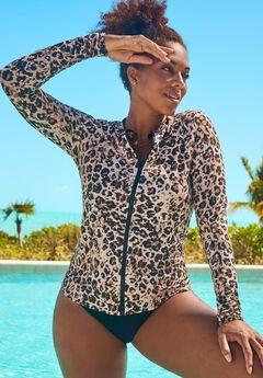 Chlorine Resistant Zip Up Swim Shirt, LEOPARD