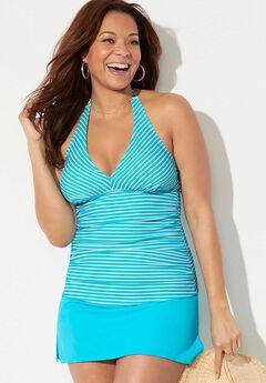 Shirred Halter Tankini Set with Side Slit Skirt,