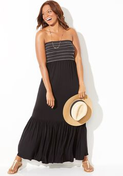 Karlie Smocked Bandeau Maxi Dress Cover Up,