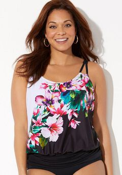 Loop Strap Blouson Tankini Top, ENGINEERED FLORAL