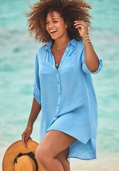 Lyla Button Up Cover Up Shirt,