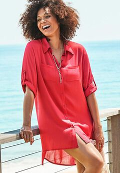 Lyla Button Up Cover Up Shirt, GRENADINE
