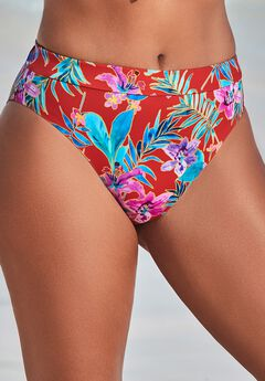 High Leg Swim Brief, RED FLORAL
