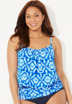 Lightweight Blouson Tankini Top, LIGHT BLUE TIE DYE