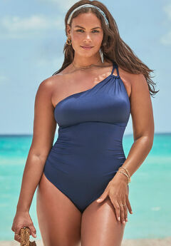 One Shoulder Loop Strap One Piece Swimsuit,