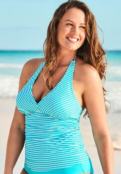 Shirred Halter Tankini Top,