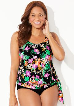 Side Tie Blouson Tankini Top, MIDNIGHT GARDEN