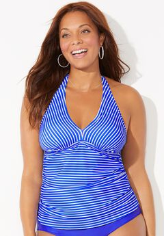 Shirred Halter Tankini Top, ELECTRIC IRIS STRIPE