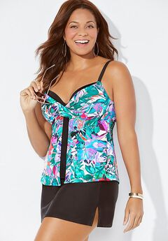 Faux Flyaway Underwire Tankini Set with Side Slit Skirt,