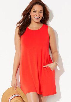 Jordan Pocket Cover Up Dress, FIRE RED
