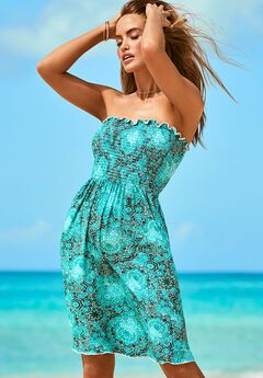 Jenna Bandeau Cover Up Dress, JADE MEDALLION