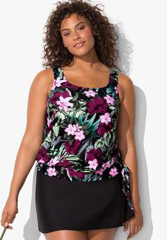 Side Tie Blouson Tankini Set with Skirt,