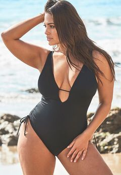 Ashley Graham A-List Plunge One Piece Swimsuit, BLACK