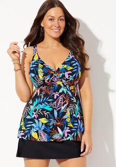 Bra Sized Sweetheart Underwire Tankini Set with Side Slit Skirt,