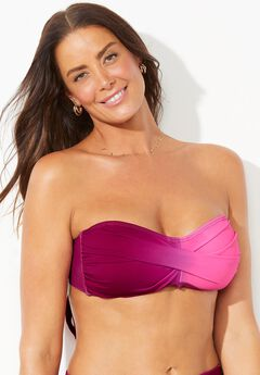 Valentine Ruched Bandeau Bikini Top, MULBERRY OMBRE