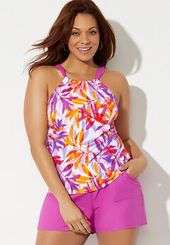 High Neck Tankini Set with Cargo Short,