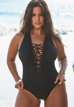 Ashley Graham CEO Lace Up One Piece Swimsuit, BLACK