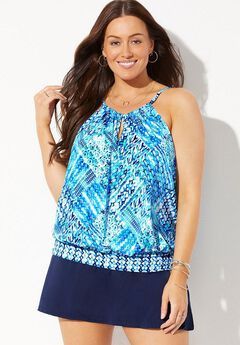 High Neck Blouson Tankini Set with Skirt,