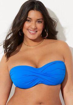 Valentine Ruched Bandeau Bikini Top, BLUE