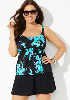 Flared Tankini Set with Skirt,