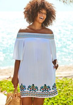 Rhiannon Embroidered Cover Up Dress, WHITE